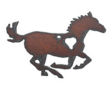 The Lipstick Ranch Rusted Iron Galloping Heart Horse Pendant 70x48mm