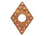 Walnut Wood Diamond Drop Stitchable Focal 26x38mm
