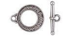 Antique Silver (plated) Textured Round Toggle Clasp 14x17mm, 17mm Bar