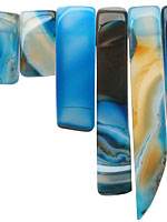 Sky Blue Line Agate Graduated Rectangle Drop 10x20-55mm