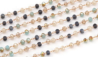 French Riviera Mix Crystal 3mm Delicate Brass Bead Chain
