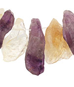 Amethyst and Citrine Rough Nugget Drop 10-15x20-35mm