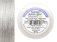 Twisted Artistic Wire Non-Tarnish Silver 22 gauge, 5 yards
