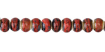 Matador Red w/ Speckles Banded Porcelain Tumbled Rondelle 5x7mm