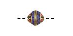 Tibetan Brass Saucer Bead w/ Lapis & Coral Mosaic 11-13x11mm