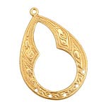 Brass Patterned Diamond Link 32x46mm