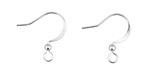 Silver (plated) Flat Earwire w/ Ball 10x17mm