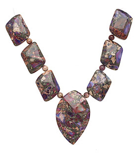 Purple Impression Jasper & Pyrite Mixed Pendant Set 13-35mm