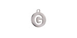 """Stainless Steel Initial Coin Charm """"G"""" 10x12mm"""