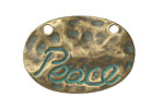 Zola Elements Patina Green Brass Hammered Peace Tag Pendant 35x24mm