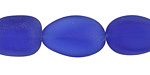 Royal Blue Recycled Glass Oval Nugget 17-22x13-14mm