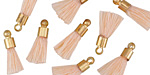 Apricot w/ Gold (plated) Bead Cap Tiny Thread Tassel 15mm