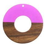 Walnut Wood & Orchid Resin Donut Focal 45mm