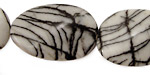 Black Water Jasper Twisted Oval 30x20mm