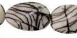 Black Water Jasper Twisted Oval 30x20mm