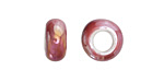 Raspberry Large Hole Ceramic Rondelle 12-13mm