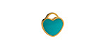 Turquoise Enamel Gold (plated) Stainless Steel Heart Charm 11x12mm