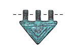 Greek Copper (plated) Patina Lined Triangle 3 Loop Pendant 25x22mm
