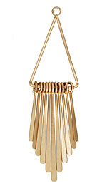 Zola Elements Matte Gold Finish Long Flattened Graduated Paddle Set on Triangle Ring 21x80mm