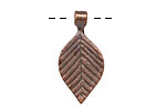 Greek Bronze (plated) Small Linear Leaf Drop 14x29mm