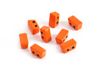 Orange Enamel 2-Hole Tile Thin Rectangle Bead 4x8mm