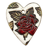 Earthenwood Studio Ceramic Oxidation w/ Red & Green Tattoo Rose 40x48mm