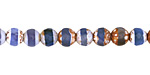 Tibetan (Dzi) Agate Blue Banded Faceted Round 6mm
