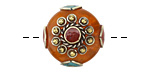 Tibetan Resin Amber & White Brass w/ Coral Center Coin Bead 25mm