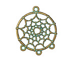 Patina Green Brass (plated) Dreamcatcher 1-3 Focal Link 28x34mm
