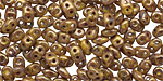 Opaque Yellow Bronze Picasso SuperDuo 2x5mm Seed Bead