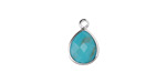 Synthetic Turquoise Faceted Teardrop Pendant in Silver Finish Bezel 10x14mm