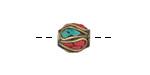 Tibetan Brass Rice Bead w/ Turquoise & Coral Mosaic Plumes 10-11x9-12mm