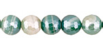Green Line Agate w/ Silver Luster Faceted Round 10mm