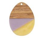 Walnut Wood & Lavender Fields Resin Teardrop Focal 28x37mm