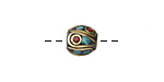 Tibetan Brass Rice Bead w/ Coral Dots & Turquoise Mosaic Plumes 9-10mm