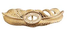 Zola Elements Matte Gold (plated) Owl Feather Bezel 7mm Flat Cord Slide 72x21mm