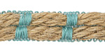Aqua and Natural Bound Hemp Ribbon 10mm