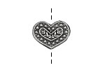 Pewter Folk Heart Button 18x15mm
