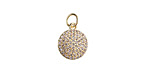 Clear Pave CZ Gold (plated) Stainless Steel Coin Charm 10.5x16mm