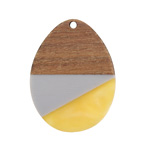 Walnut Wood & November Day Resin Teardrop Focal 28x37mm