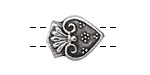 Greek Pewter 2-hole Tassel Bead 20x15mm