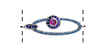 Jewel Tone Mix Pave CZ Rhodium (plated) Elongated Oval Focal Link 32x10mm