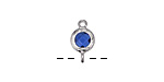 Sapphire Crystal in Silver (plated) Textured Bezel Link 7x12mm