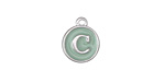 "Sweet Mint Enamel Silver Finish Initial Coin Charm ""C"" 12x14mm"
