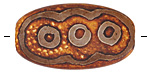 Tibetan (Dzi) Agate Matte Rust 3 Circles Patterned Oval Focal 38-40x24mm