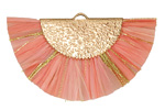 Pink Coral w/ Metallic Gold Fringed Raffia Focal 45x27mm