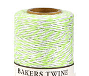 Lime/White & Metallic Silver Bakers Twine 2 ply, 410 ft