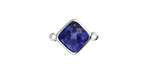 Lapis Faceted Diamond Focal Link in Silver Finish Bezel 17x12mm