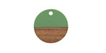 Walnut Wood & Vintage Turquoise Resin Coin Focal 18mm