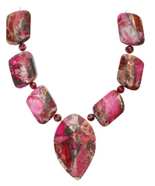 Ruby Impression Jasper & Pyrite Mixed Pendant Set 13-35mm